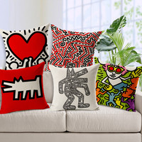 Keith Haring Abstract Painting Street Arts Decorative Cushion Cover Pillow Case Home Decor Almofadas 18*18inch Modern coussin
