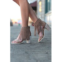 Very Volatile: Lux Fringe High Heel Sandal {Taupe}