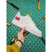 Comme des Garcons Play x Nike Air Force 1 AF1 CDG White Sneakers