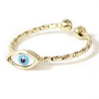 Twisted Evil Eye Knuckle Ring