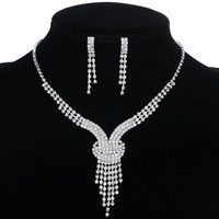 YAZILIND Shining Clear Crystal Silver Plated Bridal Jewelry Sets Y Shaped Necklace and Earrings