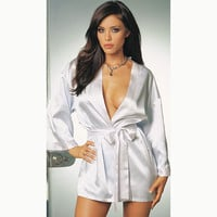 New Sexy Women Silk Satin Night Robe Bathrobe Dressing Gown Solid Color Sleepwear Nightwear Wedding Bride Bridesmaid Kimono Robe