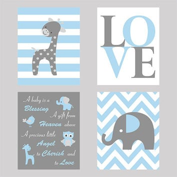 Wall Art, Set of 4, Nursery Wall Prints, Baby Quote, LOVE, Elephant Custom Prints, Blue Gray  Modern Art, Custom Colors, Nursery Decor, 8x10