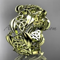 14kt yellow gold leaf and celtic trinity knot wedding band, engagement ring CT7262G