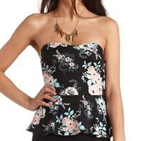 BOW-BACK FLORAL STRAPLESS PEPLUM TOP