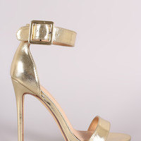 Metallic Buckled Ankle Strap Stiletto Heel