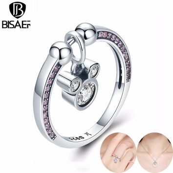 BISAER Genuine 925 Sterling Silver Ring Geometric Square Dazzling CZ Finger Rings for Women Anniversary Engagement Jewelry
