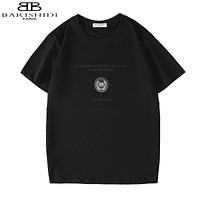 Balenciaga New fashion letter leaf print couple top t-shirt Black