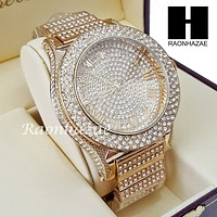 Men's Hip Hop 14K Gold PT Bling Lab Diamond Techno King Rapper Watch L3