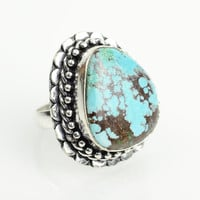 Turquoise Ring Native American Turquoise Sz 7 boho ring Navajo Ring Zuni Southwest Indian Silver Ring Jewelry Old Pawn Hopi Turquoise