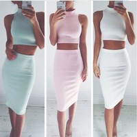 Winter Dress Sleeveless Bottom & Top Women's Fashion Skirt [6326005121]
