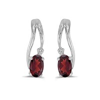 14K White Gold Oval Garnet and Diamond Wave Earrings
