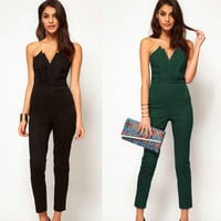 jumpsuits for women clothing Europe and the United States Tube Top Nine pants 2017 new v-neck backless sleeveless jumpsuits plus