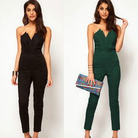 V-neck Backless Jumpsuits for Women