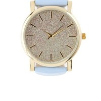 Blue Glitter & Faux Leather Watch by Charlotte Russe