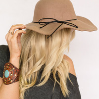 Luck Be A Lady Floppy Hat In Taupe