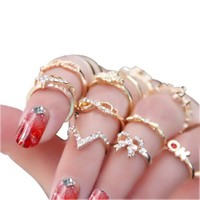Women's Rhinestone Bowknot Knuckle Midi Mid Finger Tip Stacking Rings