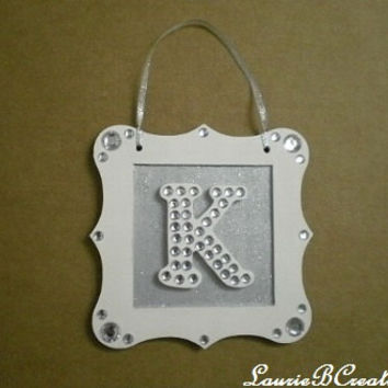 "BLING INITIAL SIGN - Personalized Handpainted Sparkling w/ Clear Rhinestones - 5.5"" x 5.5"""