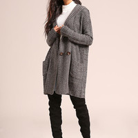 Charcoal Double Breasted Hooded Thick Knit Cardigan