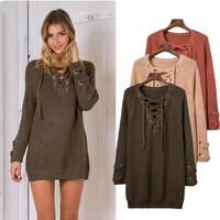 Hollow Out Knit Tops Winter Women's Fashion Pullover Bottoming Shirt [11966525459]