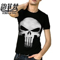 2016 THE PUNISHER Skull T Shirt The Punisher Black longt Sleeve T-shirt Men Clothing Top Tees For Summer
