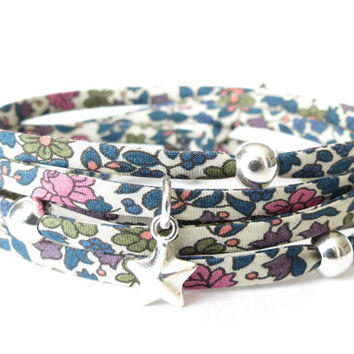 Liberty of London fabric wrap bracelet in blue, olive and French rose petite florals, gift idea for bridesmaids