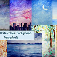 hand painted watercolour nature landscape night woodland background digital background (set 2) instant download for greeting cards wall art