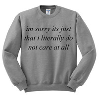 Grey Crewneck I Literally Do Not Care At All Sweatshirt I'm Sorry Gray Sweater Jumper Pullover