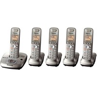 Panasonic KX-TG4025N DECT 6.0 PLUS Expandable Digital Cordless Phone with Answering System, Champagne Gold, 5 Handsets