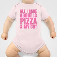 ALL I CARE ABOUT IS PIZZA & MY CAT (Pink) Baby Clothes by CreativeAngel