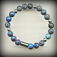 Genuine Blue Apatite Beaded Bracelet / Men's Unisex Healing Jewelry Yoga AAA+++ Apatite with Gunmetal beads / One Size Fits All