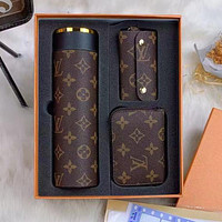 LV Louis Vuitton Gradient Printed Letter Three-piece Thermos Cup Button Key Case Square Wallet