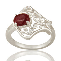 Natural Ruby Corundum Sterling Silver Solitaire Ring