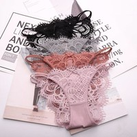 SP&CITY New Lace Transparent Panties Sex Women Sexy Hollow Out Underwear Female Lingerie String Thongs Crotch Cotton Briefs