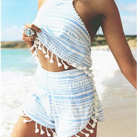 Light Blue and White Printed Halter Top and Shorts with Tassels