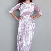 Anything For You Pink Velvet Long Sleeve Maxi Dress