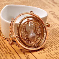 1pc Gold Hourglass Time Turner Necklace Hermione Granger Rotating Spins free shipping