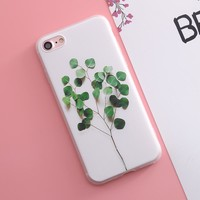 SoCouple For iphone 6 6s 6plus 5 5s SE Case For iphone 7 7plus Case Plant Cactus Flower Rose Pattern Relief Silicone Phone Case