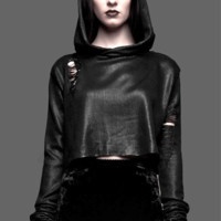 Soft crop knit top with hoodie, featuring black ink foil tattered on surface, distressed detailing, boxy design, and finished full length sleeves. Pair with high waist jeans.
