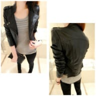 Womens Modern Retro Leather Motorcycle Jacket