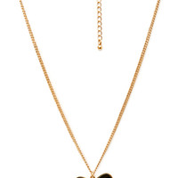 FOREVER 21 Faux Leather Bow Pendant Necklace Black/Gold One