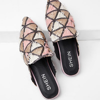 Triangle Pattern Pointed Toe Flats -SheIn(Sheinside)