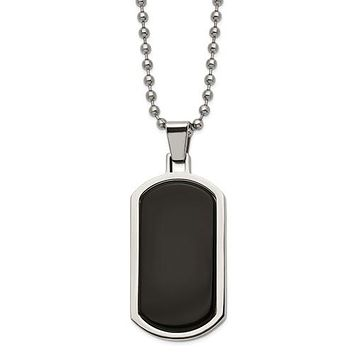 """Stainless Steel Polished Black Agate Inlay 22"""" Dog Tag Necklace"""