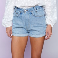 Vintage Levi's Cuffed Denim Shorts Mid Blue