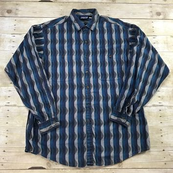 Patagonia Striped Blue / Teal / Gray Button Up Shirt Mens Size Large