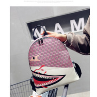 2017 new shark print trend personality shoulder bag travel backpack