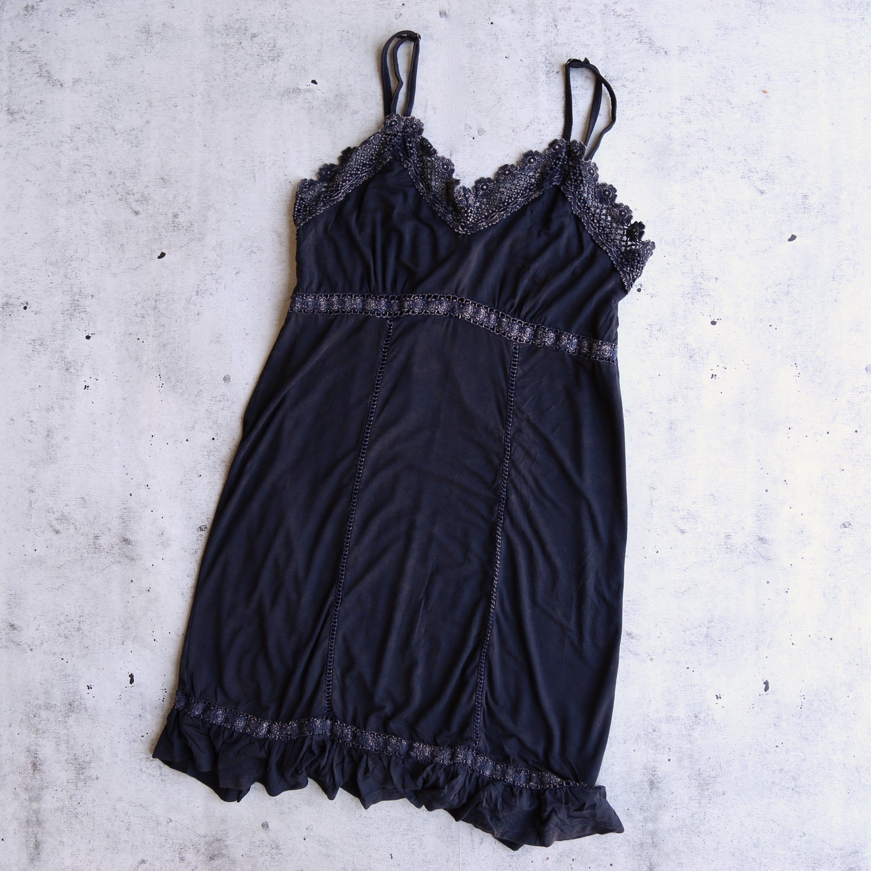 Image of Final Sale - POL BSIC - Acid Wash Dress With Crochet Lace Insets - More Colors