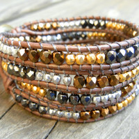 Beaded Leather Wrap Bracelet 4 or 5 Wrap with Metallic Bronze Gold Hematite and Silver Czech Glass Beads on Brown Leather Fall Autumn