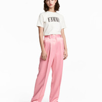 Wide-cut Satin Suit Pants - from H&M