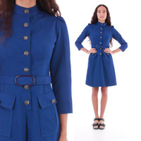60's Mod Belted Button Up Fit and Flare Dress Minimalist Chic Royal Blue 1960's Vintage Clothing Womens Size Small Medium